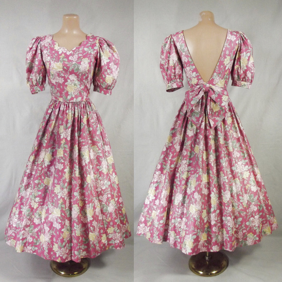 ccdacff47c7 Laura Ashley Dresses   Skirts - VINTAGE 80s Laura Ashley Garden Party Full  Dress
